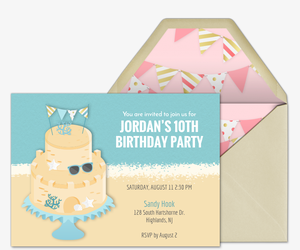 Beach Sandcake Invitation