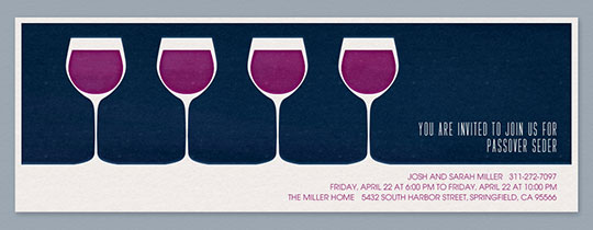 4 Wine Glasses Invitation