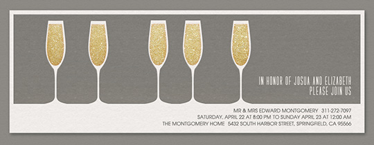 5 Glasses Gray Invitation