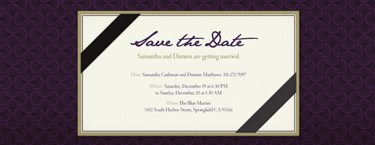 Aubergine Save the Date Invitation
