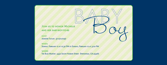 Baby Boy Stripes Invitation