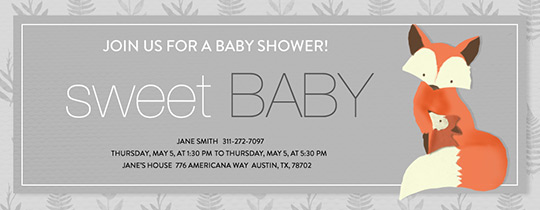 Baby Fox Shower Invitation
