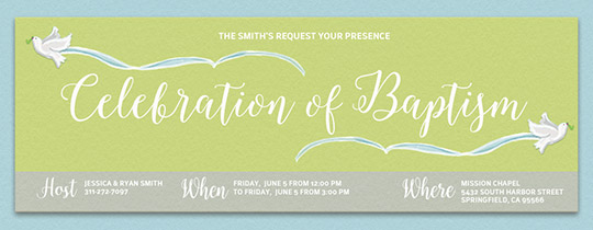Baptism Doves Invitation
