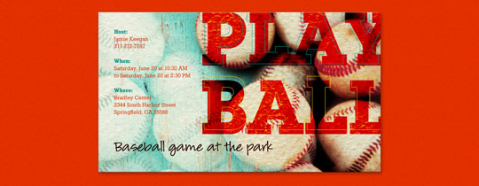 Baseballs Invitation