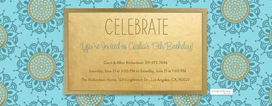 Ocean Blue Medallion Invitation