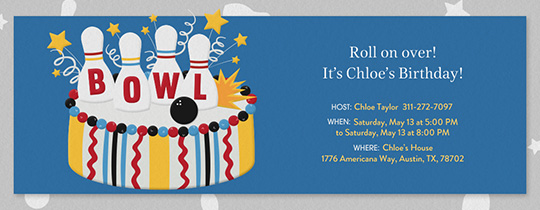 Birthday Cake Bowling Invitation