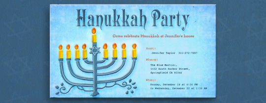 Blue Menorah Invitation