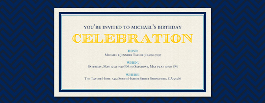 Blue on Black Invitation
