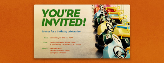 Bumper Cars Invitation