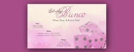 Bunco Roll Invitation