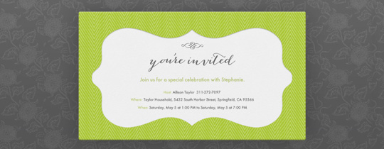 floral, flourish, flower, flowers, formal, gray, green, herringbone, stationery, you're invited