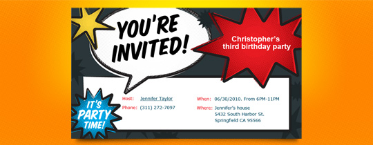 Comic Book Invite Invitation