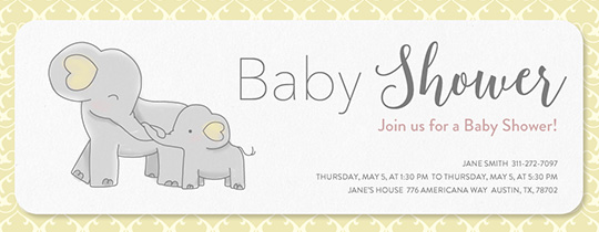 Elephant Baby Shower Yellow Invitation