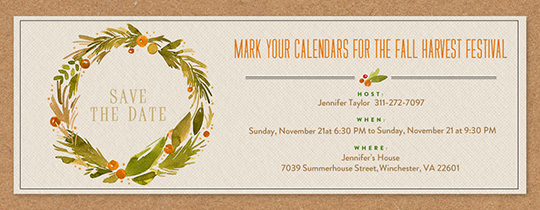 Festive Sage Wreath Invitation