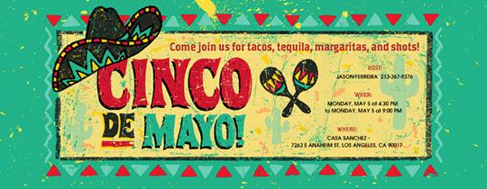 sombrero, cinco de mayo, tacos, tequila, margaritas, shots, maracas