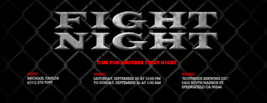 Fight Night Invitation