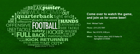 Football Word Collage Invitation