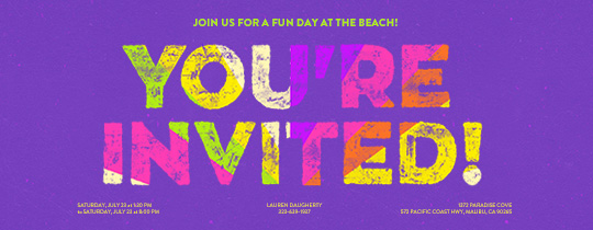 fun, invited, beach, summer, chalk, colors