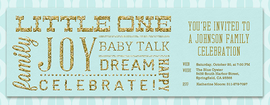 baby, baby shower, gold, glitter, family, celebrate, mint,