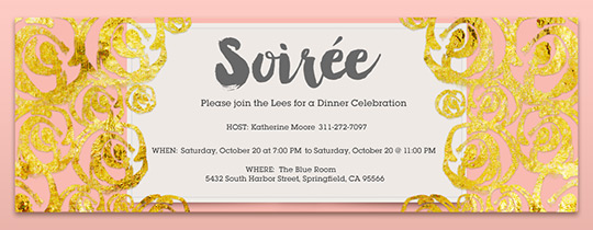 Gold Soiree Invitation