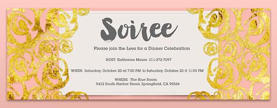 soiree, gold, dinner, celebration, swirls,