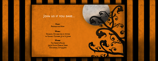 Halloween Stripes Invitation