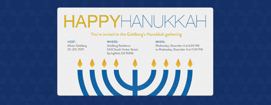 Hanukkah Menorah Invitation