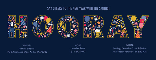 Hooray Icon Navy Invitation