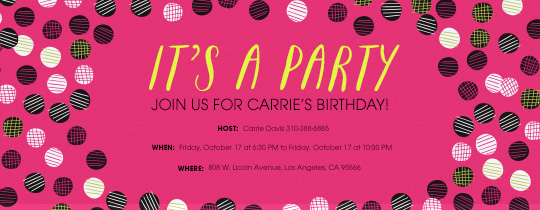 It's a Party Dot Pink Invitation