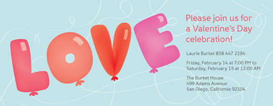 Love Balloon Invitation