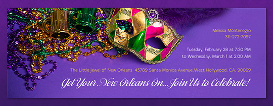 Mardi Gras Purple Invitation