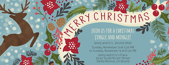 Merry Christmas Reindeer Invitation