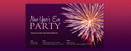 New Year's Fireworks Invitation