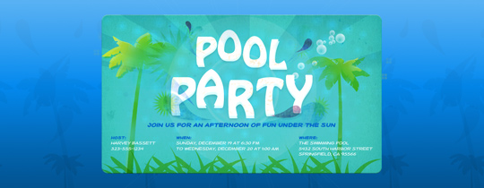 Palm Tree Pool Party Invitation