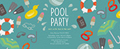 pool party, umbrellas, goggles, sun screen, floaties, scuba, sun glasses, sun, summer, pool, beach ball