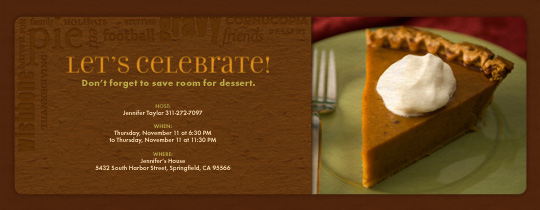 Pumpkin Pie Invitation