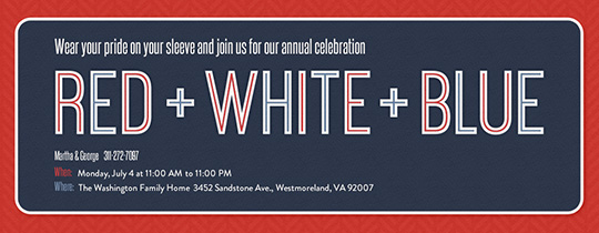 Red White Blue Invitation