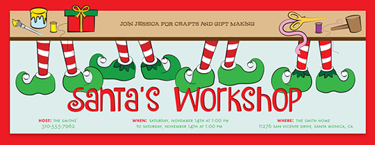 Santa's Workshop Invitation