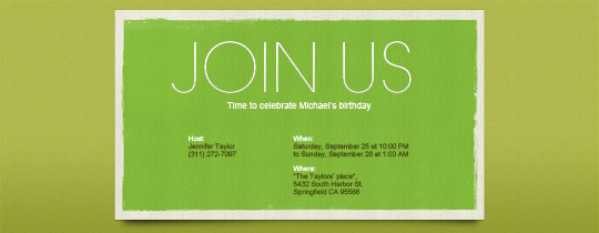 Simply Green Invitation