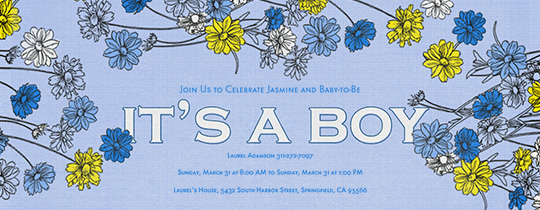 baby, baby shower, boy, boy baby shower, floral, flower, flowers, it's a boy, spring