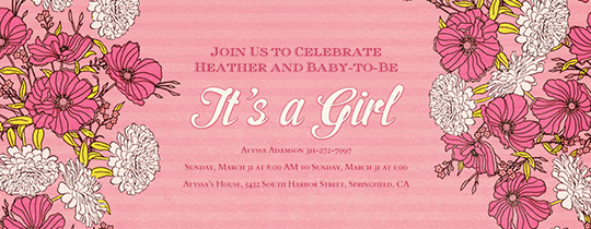 baby, baby shower, flower, flowers, girl, girl baby shower, it's a girl, pink, spring