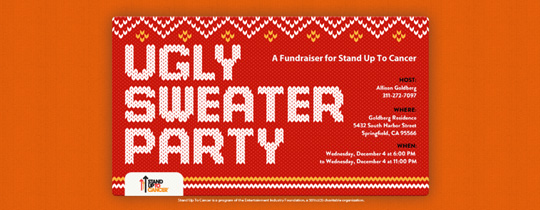 stand up 2 cancer, stand up to cancer, su2c, ugly sweater