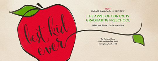Teacher's Apple Invitation