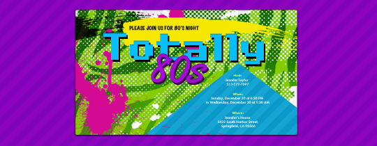 Totally 80's Invitation