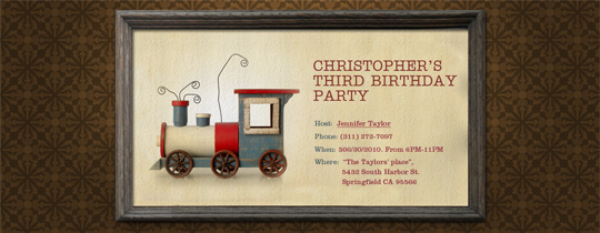 Wooden Train Invitation