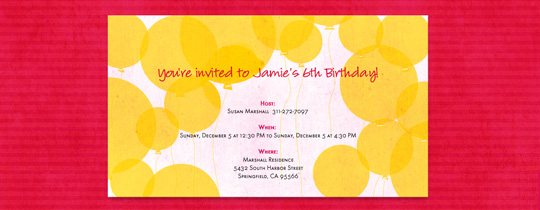 Yellow Balloons Invitation