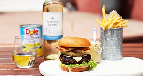 Pineapple Teriyaki Burger + Pinot Grigio