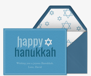 Happy Hanukkah Star Invitation