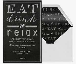 Eat, Drink & Relax Invitation