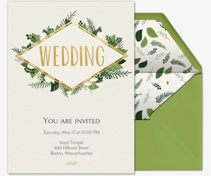 Online wedding invitations with rsvp tracking evite green wedding invitation stopboris Choice Image